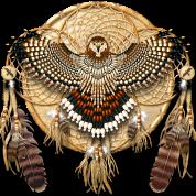 native american mandala red tailed hawk